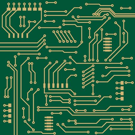 Computer chip. Green technical element. Vector illustration Çizim