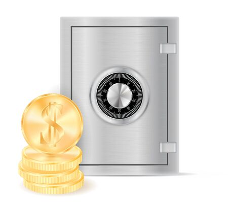Deposit safe with golden dollar coins. Vector 3d illustration isolated on white background