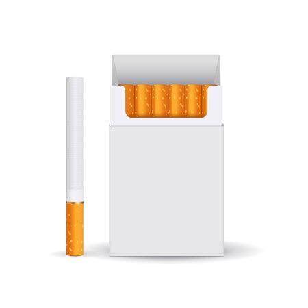 Pack of cigarettes. Blank white paper pack. Vector 3d illustration isolated on white background