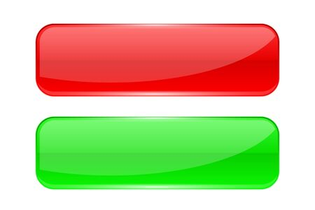 Glass buttons. Red and green rectangle 3d icons
