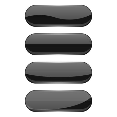Web glass buttons. Black shiny oval icons