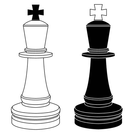 The king chess pieces. Black and white outline drawings