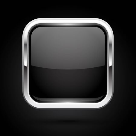 Black glass button with metal frame. Square icon on black background Çizim