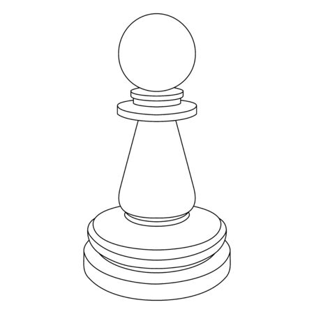 Chess pawn. Outline icon