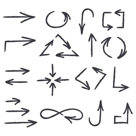 Hand drawn arrows. Black signs. Vector illustration isolated on white background Çizim