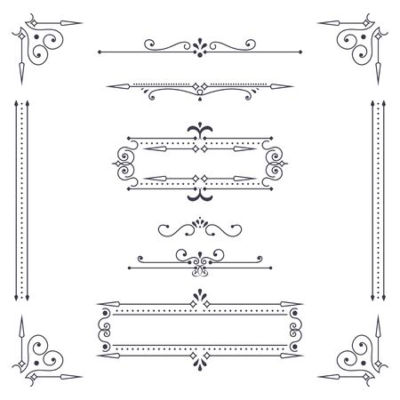 Vintage ornamental dividers. Vector illustration isolated on white background Çizim
