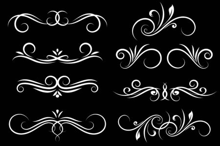 Vintage floral dividers. Ornamental decorations on black background. Vector illustration