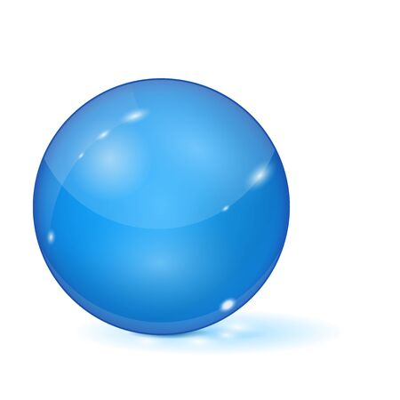 Blue glass ball. 3d sphere. Vector illustration isolated on white background