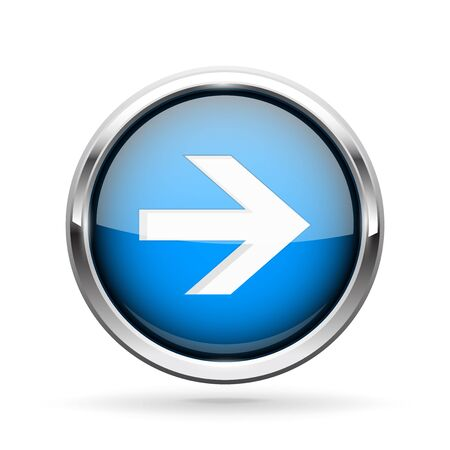 Next icon. Blue shiny 3d button with metal frame and white arrow. Vector illlustration isolated on white background