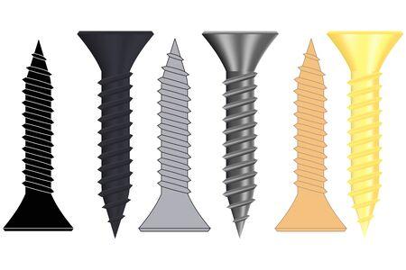 Set of screws. Black metal, iron and zinc screws
