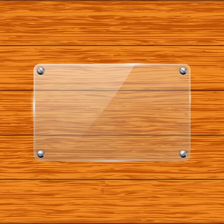 Glass transparent plate attached to wooden board Stock Illustratie