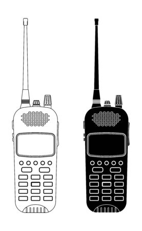 Radio transceivers. Black and white outline devices 向量圖像