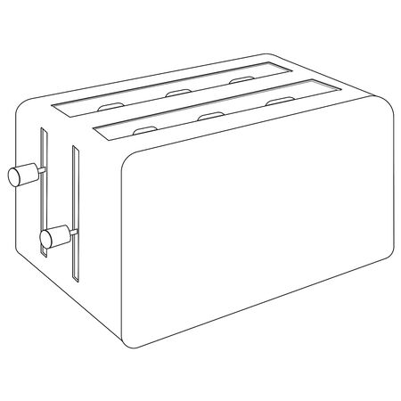 Toaster. Outline drawing Vector Illustratie