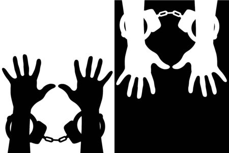 Hands in handcuffs. Silhouette icons