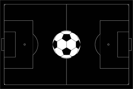 Soccer ball on football pitch. Black outline Stock Illustratie
