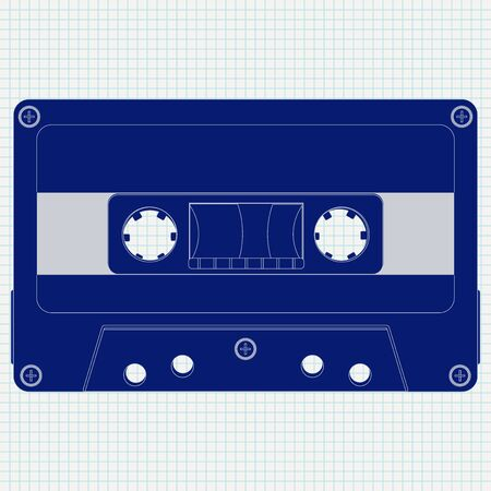 Audio tape cassette. Blue icon on lined paper background