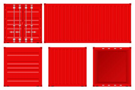 Red shipping container set Çizim