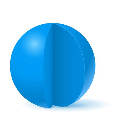 Blue sphere with cut out piece. White template Çizim