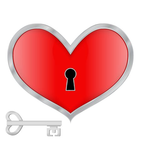 Red heart. Locked heart with a key