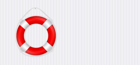 Life saving buoy. Red and white 3d sign on white background