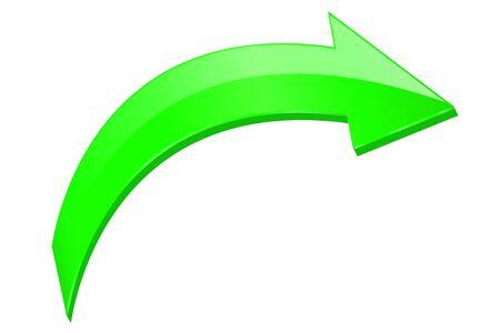 Green arrow. 3d shiny icon