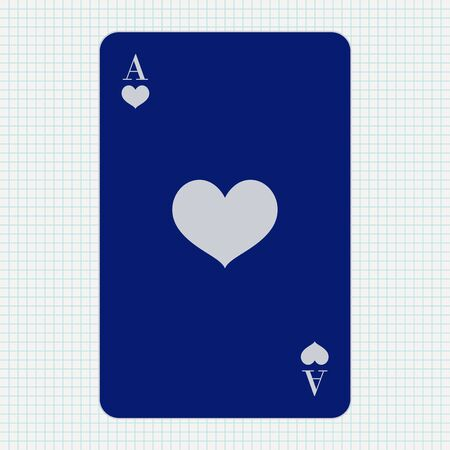 Ace of Hearts. Blue icon on lined paper background Çizim