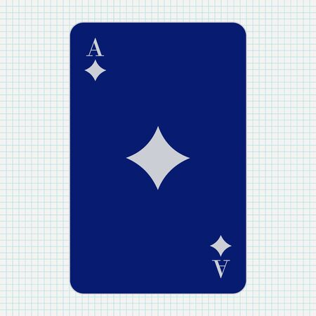 Ace of diamonds. Blue icon on lined paper background