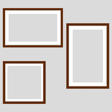 Picture frames on gray background