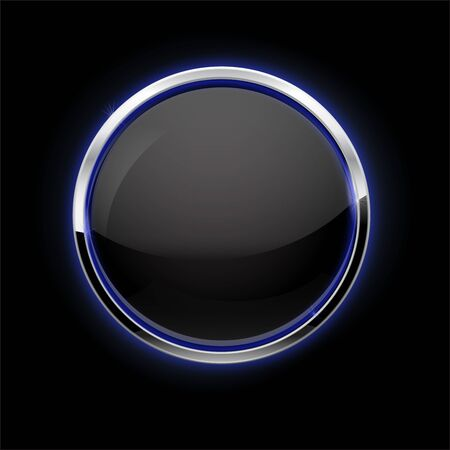 Black button with chrome frame. Glass button with blue glow on black background Çizim