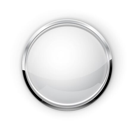 Whie glass button with metal frame