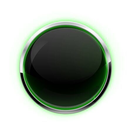 Black button with chrome frame. Glass button with green glow