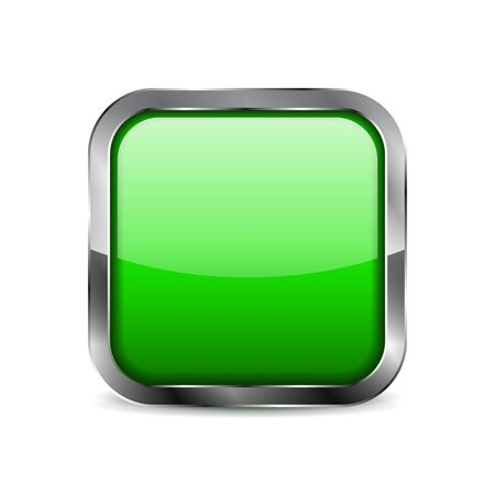 Green button. Square glass icon with chrome frame