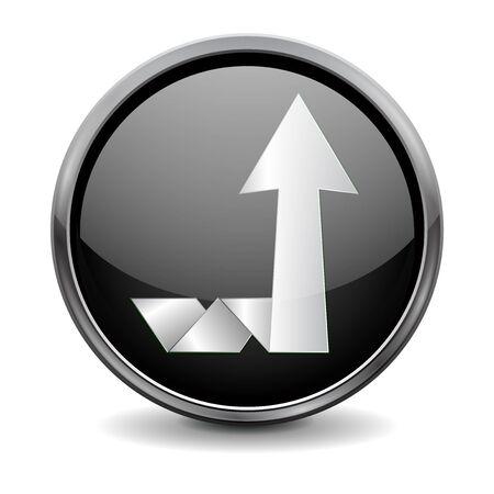 Up moving arrow. Round glass black button Çizim