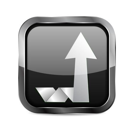 Up moving arrow. Square glass black button