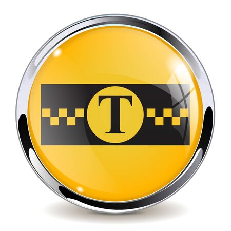 Taxi sign. Round glass symbol with metal frame
