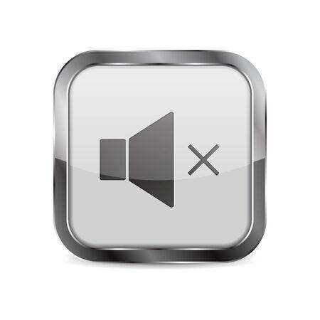 White glass media button. Square mute sign