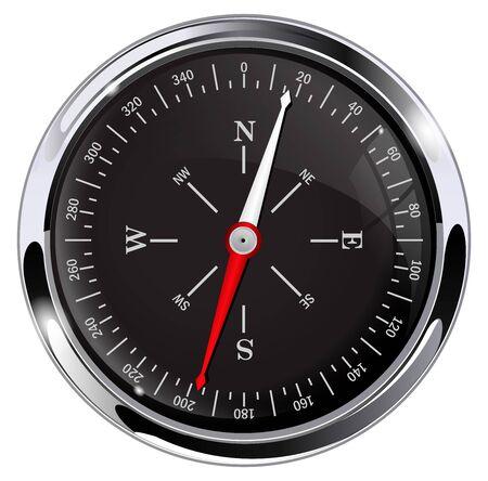 Black navigation compass. Round gauge with metal frame