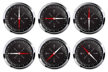 Black navigation compass. Set of round gauges with metal frame Çizim