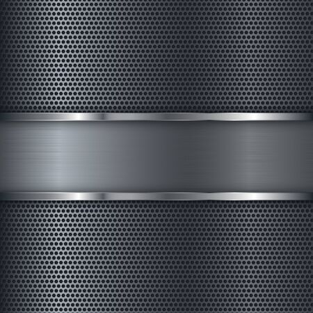 Metal perforated background with shiny steel plate. Vector 3d illustration Çizim