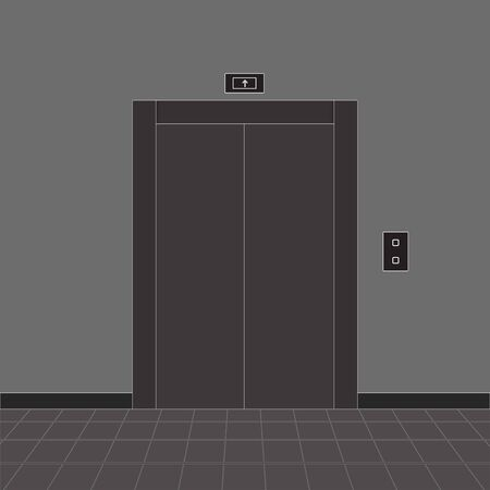 Hall interior with elevator. Gray drawing. Vector illustration