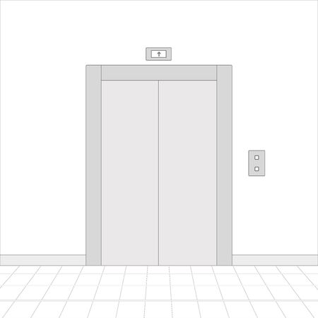 Hall interior with elevator. White drawing. Vector illustration 向量圖像