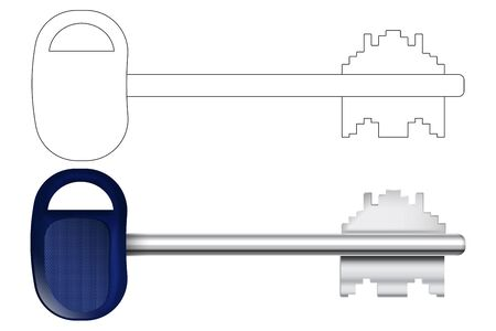 Metal door key. Vector illustration isolated on white background Çizim
