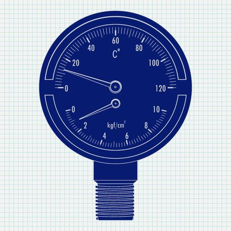 Pressure gauge and thermometer. Vector illustration on lined paper background Çizim
