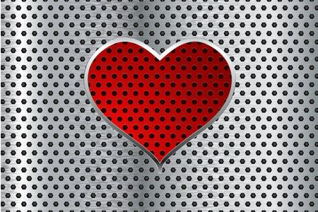 Metal perforated background with red heart. Vector 3d illustration Çizim