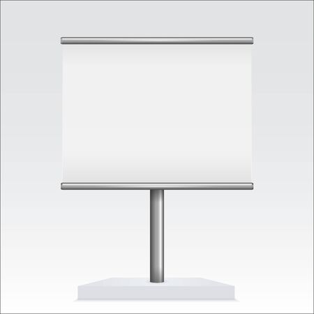 Banner stand. With blank white board. Vector 3d illustration Çizim