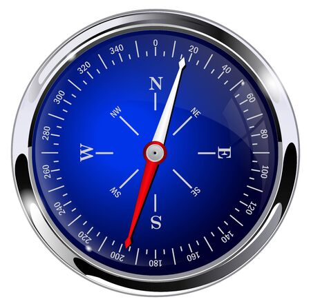 Blue compass with metal frame. Vector 3d illustration isolated on white background Çizim