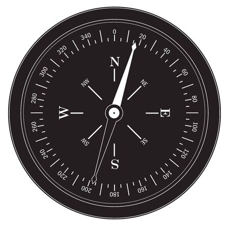 Navigational compass in retro style. Flat drawing. Vector illustration isolated on white background