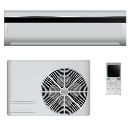 Air conditioner set. Vector 3d illustration isolated on white background