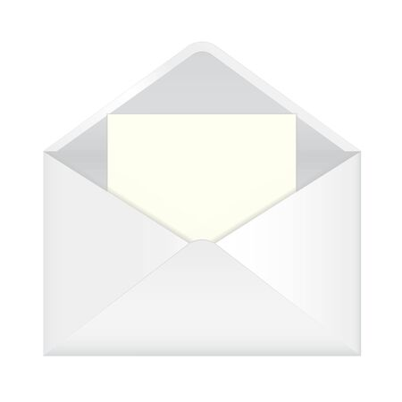 White envelope with white blank paper inside. Vector 3d illustration isolated on white background