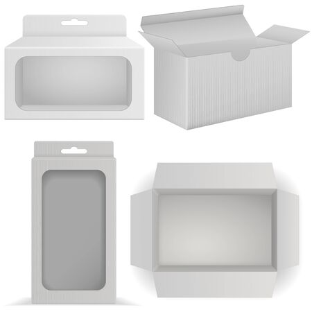 White boxes with transparent side windows. Vector illustration